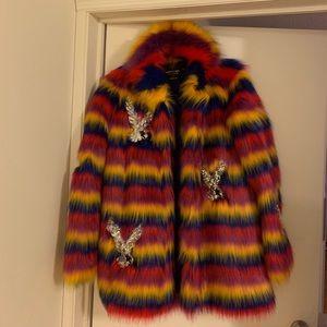 NEW rainbow stripe faux fur jacket w/embellishment